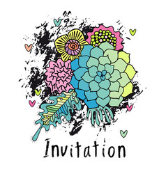 Hand drawn floral invitation card cover vector