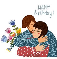happy birthday man kisses and congratulates a vector image