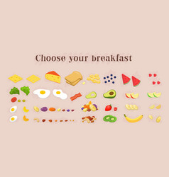 healthy breakfast food icons collection fruits vector image