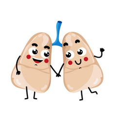 Human lungs cute cartoon character vector