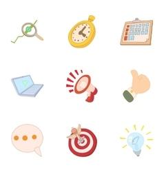 Internet setup icons set cartoon style vector