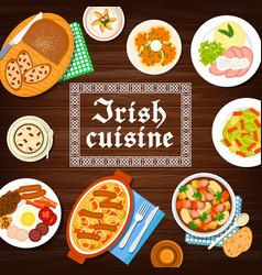 Irish cuisine food menu breakfast dishes meals vector