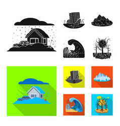 Isolated object of natural and disaster icon set vector