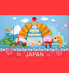 Japan travel place and landmark object paper cut vector