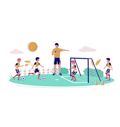 kids soccer school flat style design vector image