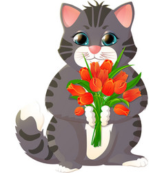 kitten with a bouquet of flowers vector image
