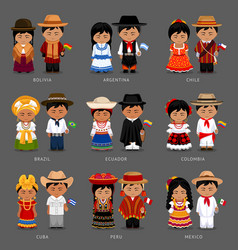 latin american people in national dress vector image