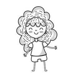 line beauty girl with clothes and hairstyle design vector image