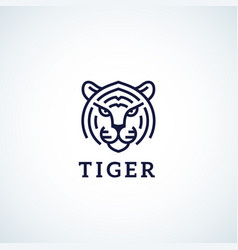 Line style tiger face abstract icon symbol vector