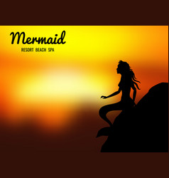 mermaid silhouette sunrise vector image