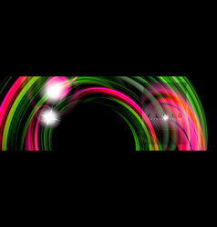 mixing color waves on black liquid flowing shapes vector image
