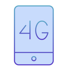 Mobile phone with 4g flat icon 4g smartphone blue vector