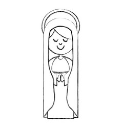 Monochrome sketch contour of virgin with mantle vector