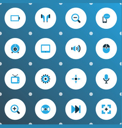 Multimedia icons colored set with tablet web cam vector