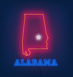 neon map state of alabama on dark background vector image