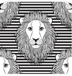 pattern with lion muzzle vector image