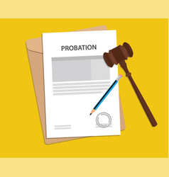 Probation text on stamped paperwork vector