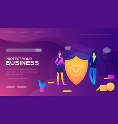 Protect your business landing page vector