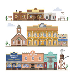 Saloon wild west building and western vector