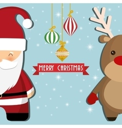 Santa and reindeer cartoon of chistmas design vector
