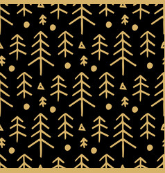 seamless christmas pattern with with gold fir vector image