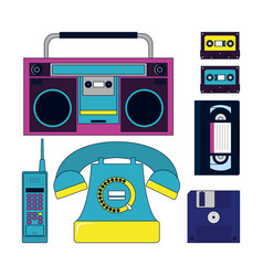 Set 90s elements and technology vector