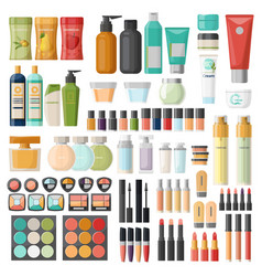 Set isolated cosmetic hygiene items skincare vector
