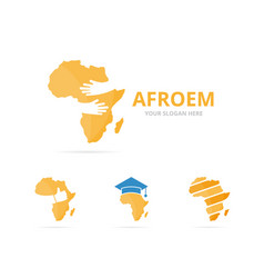 Set of africa logo combination safari and embrace vector