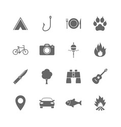 Set of travel hiking and camping icons vector