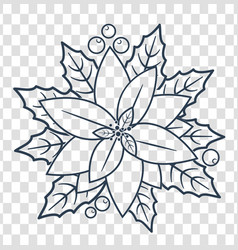 silhouette christmas poinsettia linear style vector image