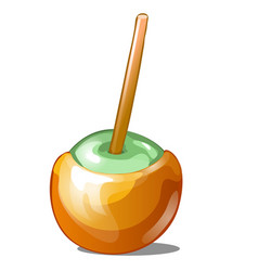 Single candy apple dipped in caramel with stick vector