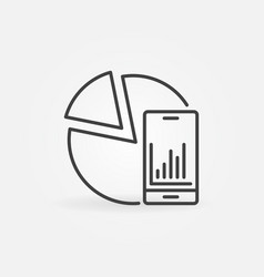 smart phone with pie chart line icon vector image