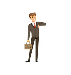 smiling successful businessman character in suit vector image