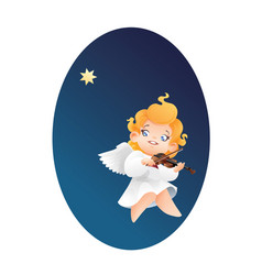 smilyng flying on a night sky kid angel musician vector image