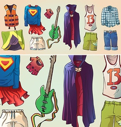 Some Original Clothes and the Guitar vector image