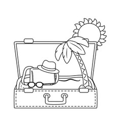 suitcase cartoon summer and travel in black and vector image