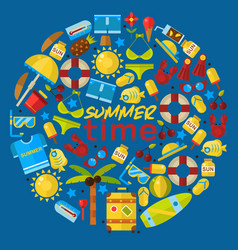 summer vacation items in round frame composition vector image