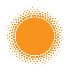 Sun icon halftone orange circle vector