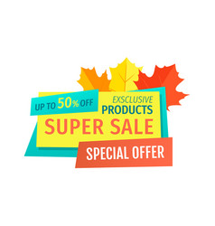 Super sale with special autumnal offer emblem vector