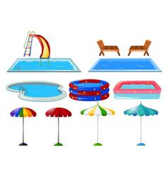 Swimming pools and umbrellas vector