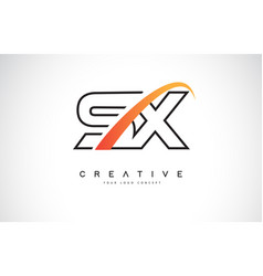 Sx s x swoosh letter logo design with modern vector