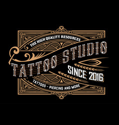 tattoo logo template old lettering on dark vector image