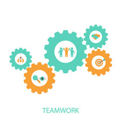teamwork concept with business icons teamwork vector image
