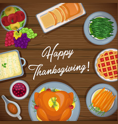 thanksgiving greeting card with menu foods vector image