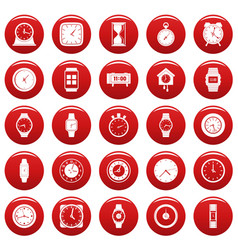 time and clock icons set vetor red vector image