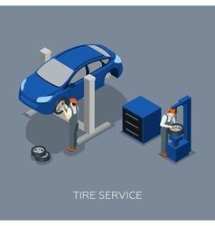 Tires Auto Service Isometric Banner vector