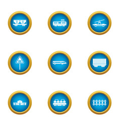 train composition icons set flat style vector image