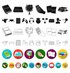 translator and linguist flat icons in set vector image