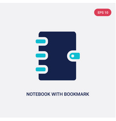 Two color notebook with bookmark icon from vector