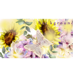 watercolor floral background sunflower and vector image